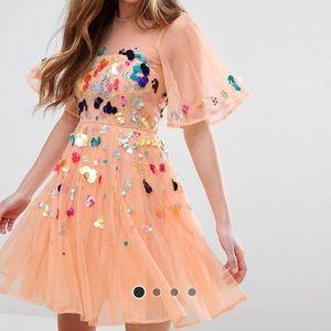 ASOS Mesh Scattered Sequin Mini Dress